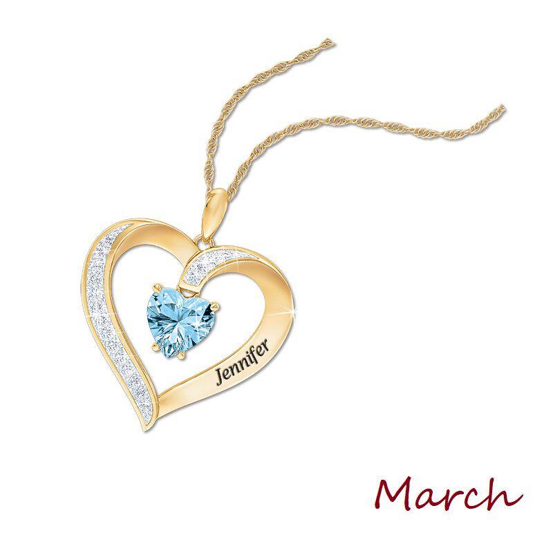 personalised birthstone heart pendant UK PBHP d four