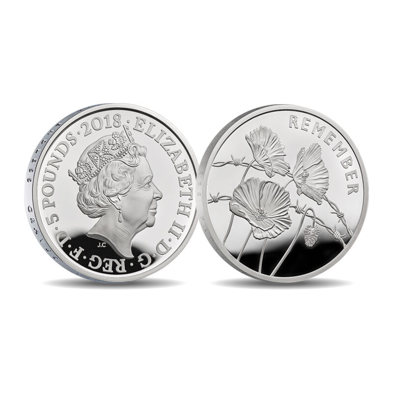 the wwi centenary 5 fine silver proof co UK CWWS c three