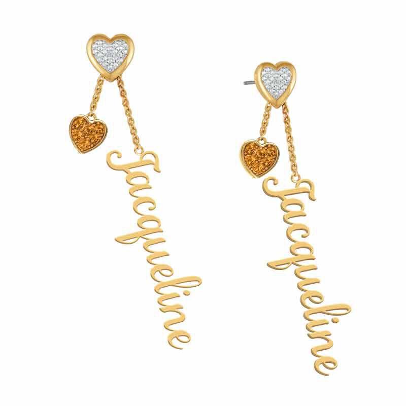 personalised birthstone earrings UK PBEAR d four
