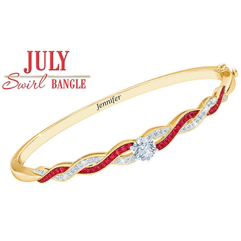 birthstone swirl personalised bangle UK BSWBA h eight