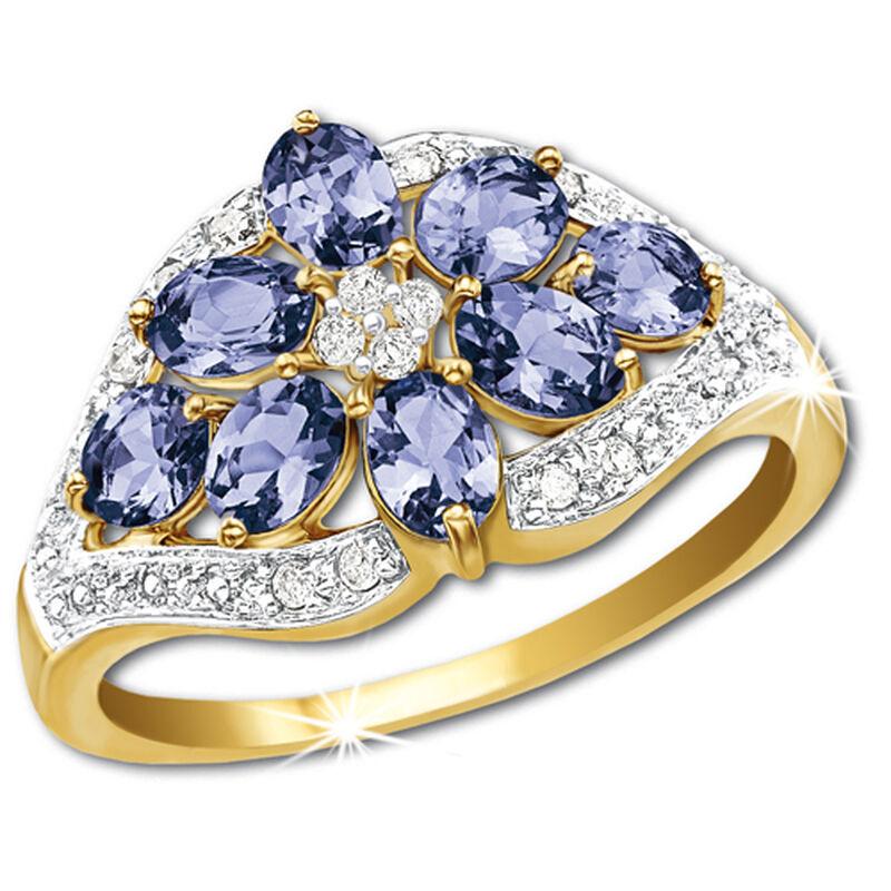 rare tanzanite bouquet 14ct gold ring UK TBR5 a main