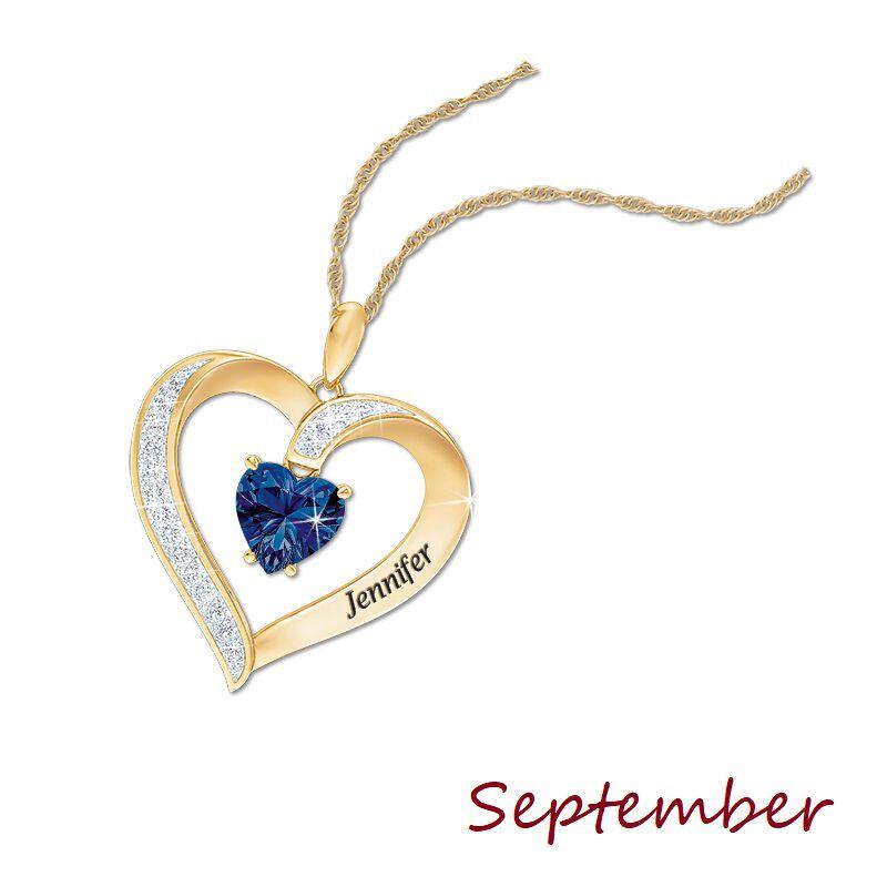 personalised birthstone heart pendant UK PBHP j ten