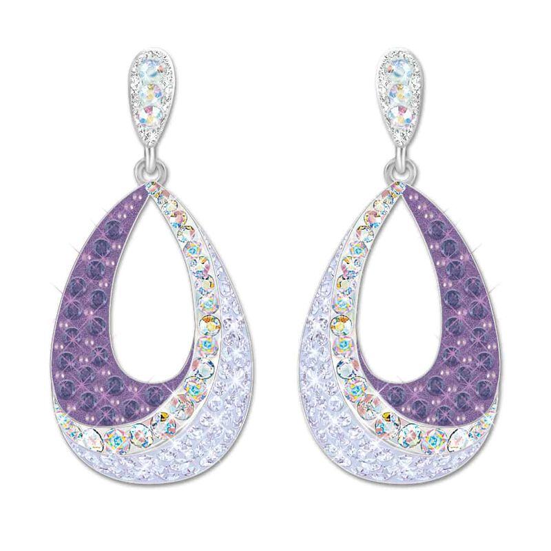 lavender bloom crystal drop earrings UK LBCDE2 a main