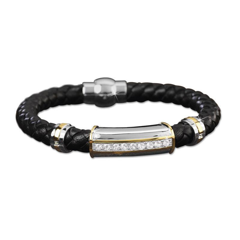 mens birthstone leather bracelet UK MBLBR2 d four