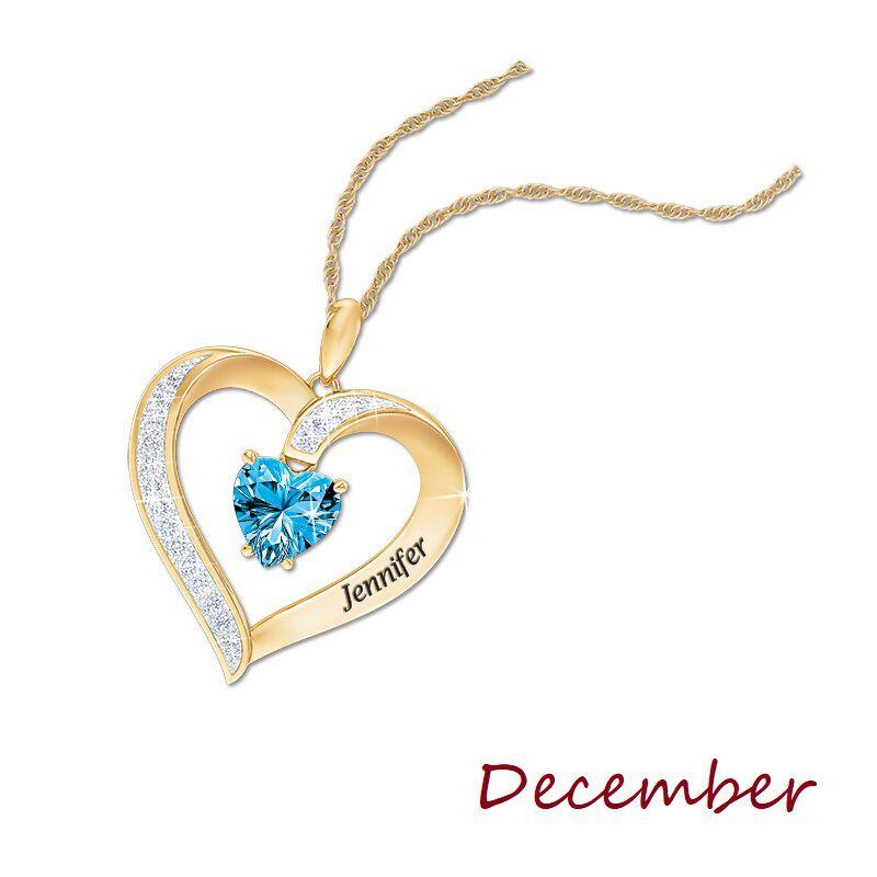 personalised birthstone heart pendant UK PBHP m thirteen