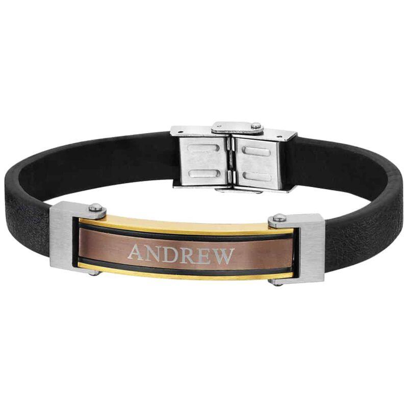 mens steel leather personalised bracelet UK MSLB a main