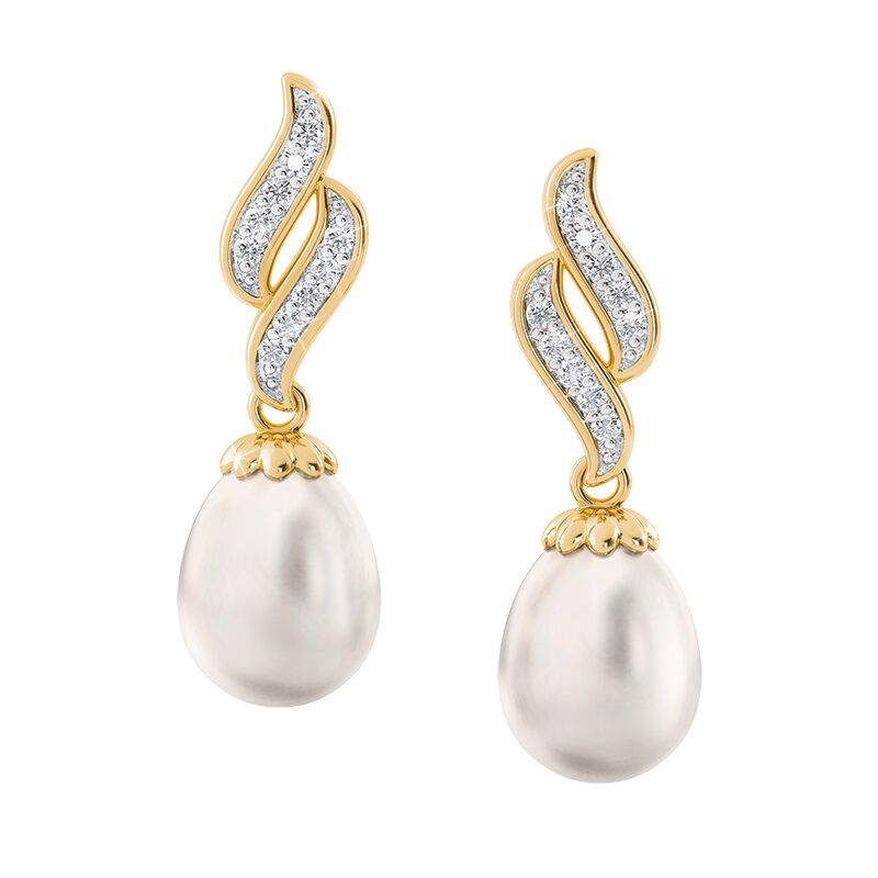 diamond wave pearl earrings UK DWPE a main