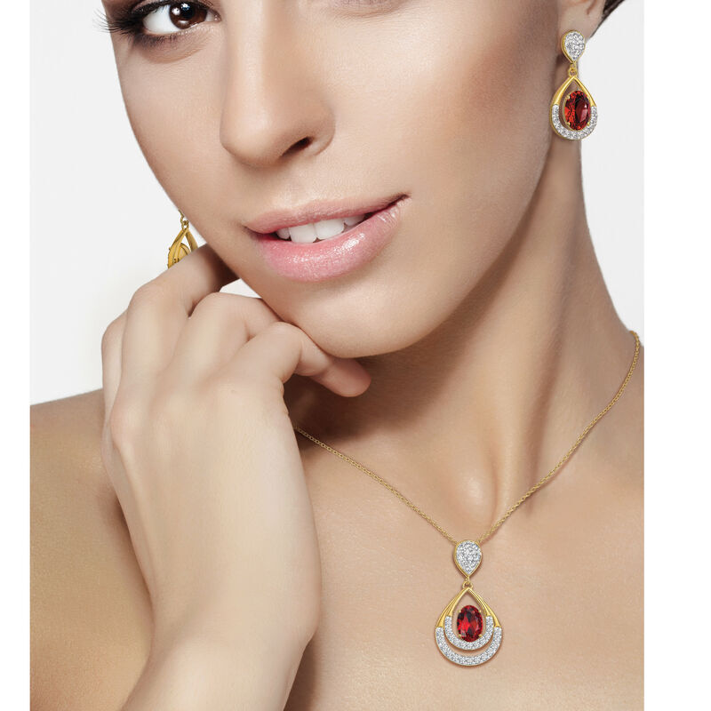Birthstone Necklace Earring Set UK BSTDS n model