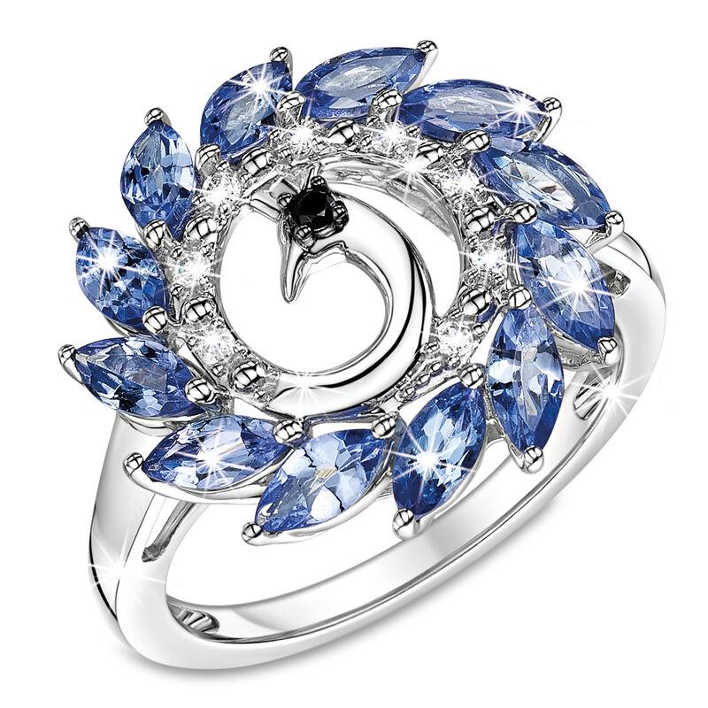 peacock flourish tanzanite silver ring UK PFTSR a main