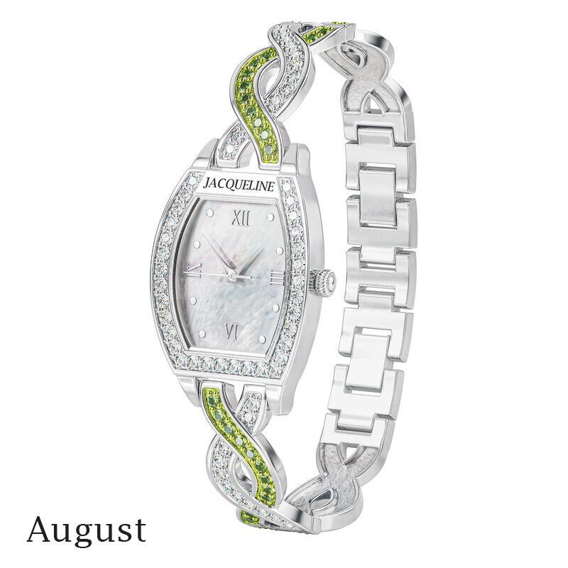 birthstone swirl bracelet watch UK BSWB h august