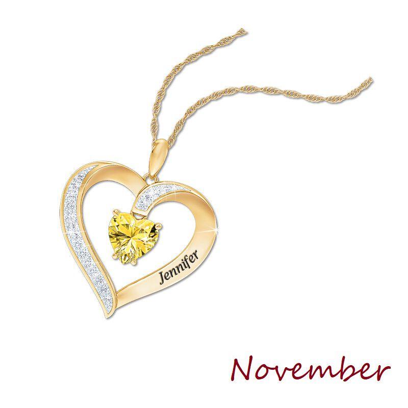 personalised birthstone heart pendant UK PBHP l twelve