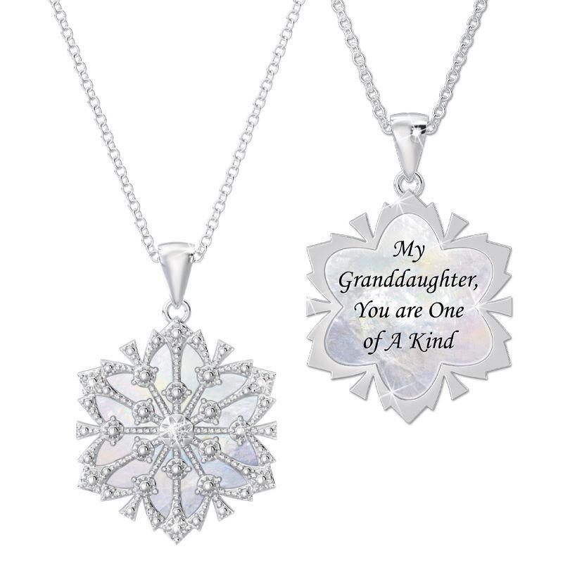 granddaughter diamond snowflake pendant UK GDSFP a main