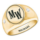 the personalised diamond signet ring UK PDSR a main
