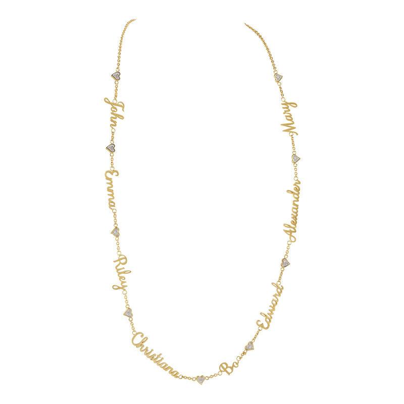 family personalised diamond name necklac UK PFDN a main
