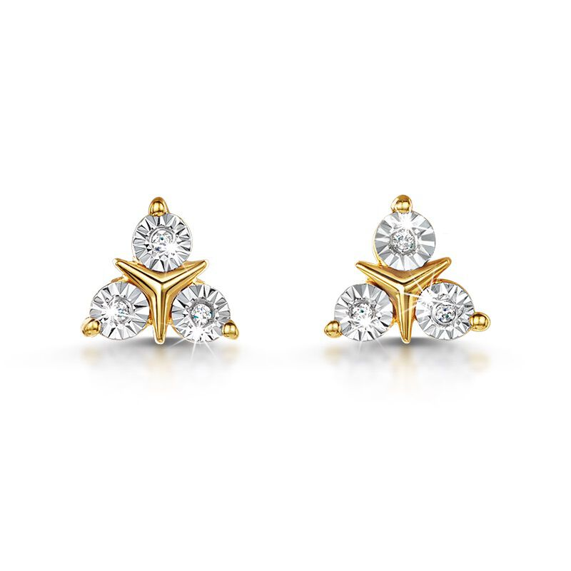 diamond trio stud earrings UK DTSE a main