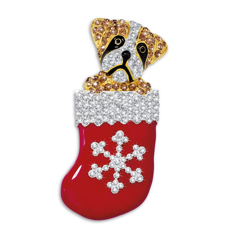 boxer pup in stocking brooch UK BPSTB a main