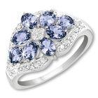 rare tanzanite bouquet silver ring UK TBSR a main