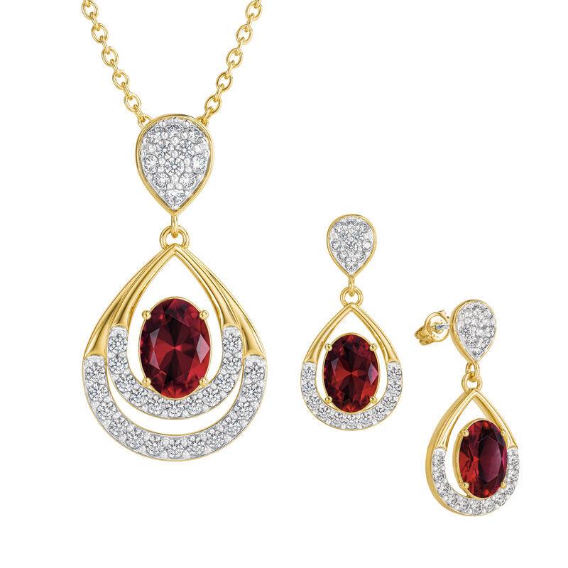 Birthstone Necklace Earring Set UK BSTDS g july
