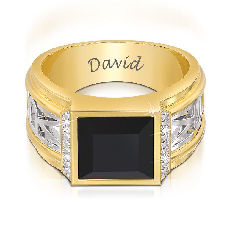 mens diamond and onyx personalised ring UK MDOPR a main