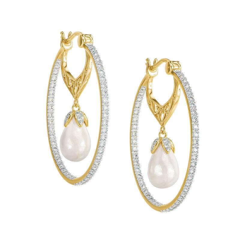 Precious In Pearls Diamond Hoop Earrings 6598 0013 a main