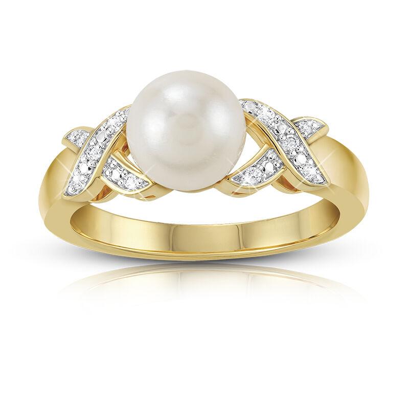 pearl diamond kiss ring UK PDKR a main
