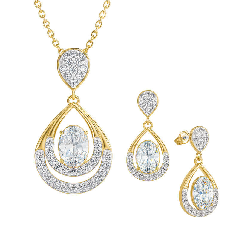 Birthstone Necklace Earring Set UK BSTDS d april