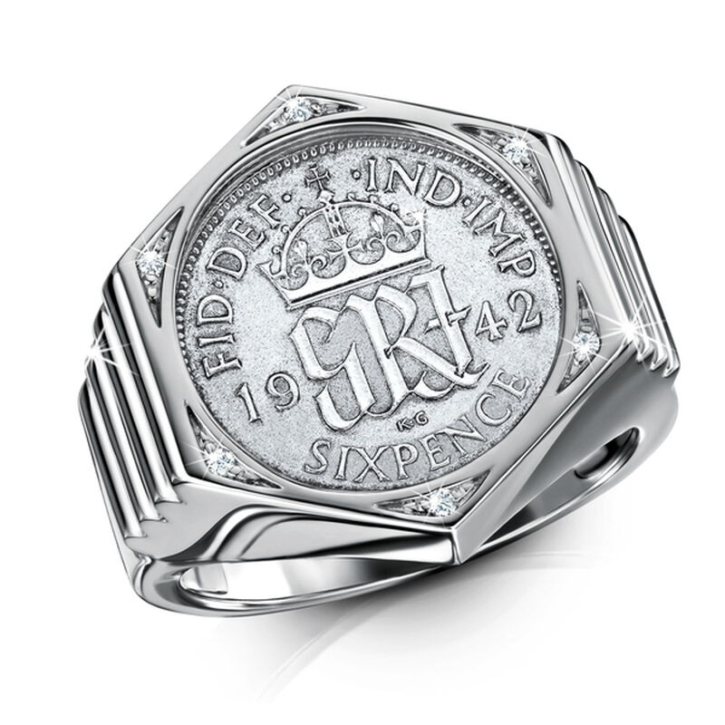 wwii gents silver sixpence ring UK GSXR a main