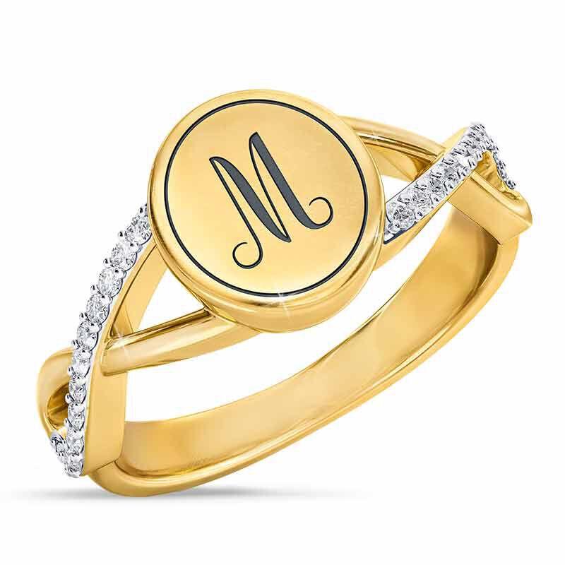 diamond signet personalised ring UK DSGPR a main