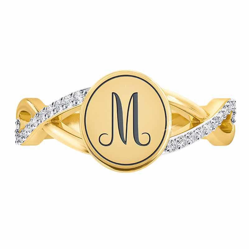 diamond signet personalised ring UK DSGPR b two