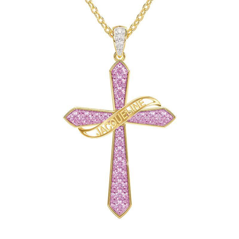birthstone diamond personalised cross ne UK BSPCN d four