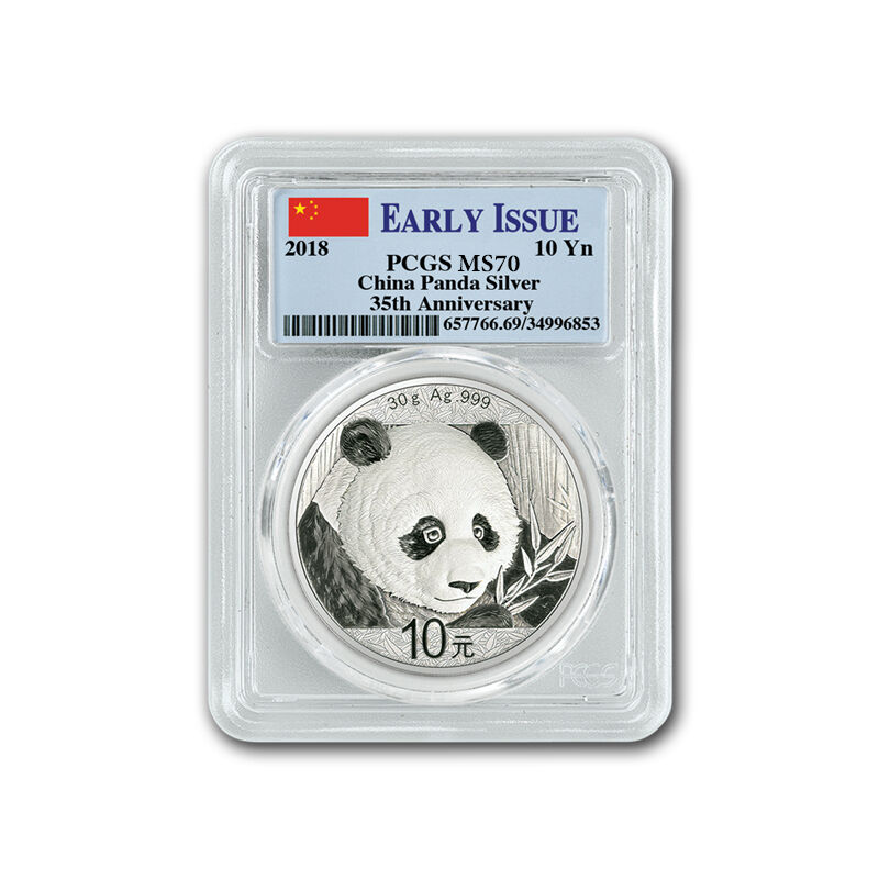 the 2018 early issue silver panda UK P18BX d four