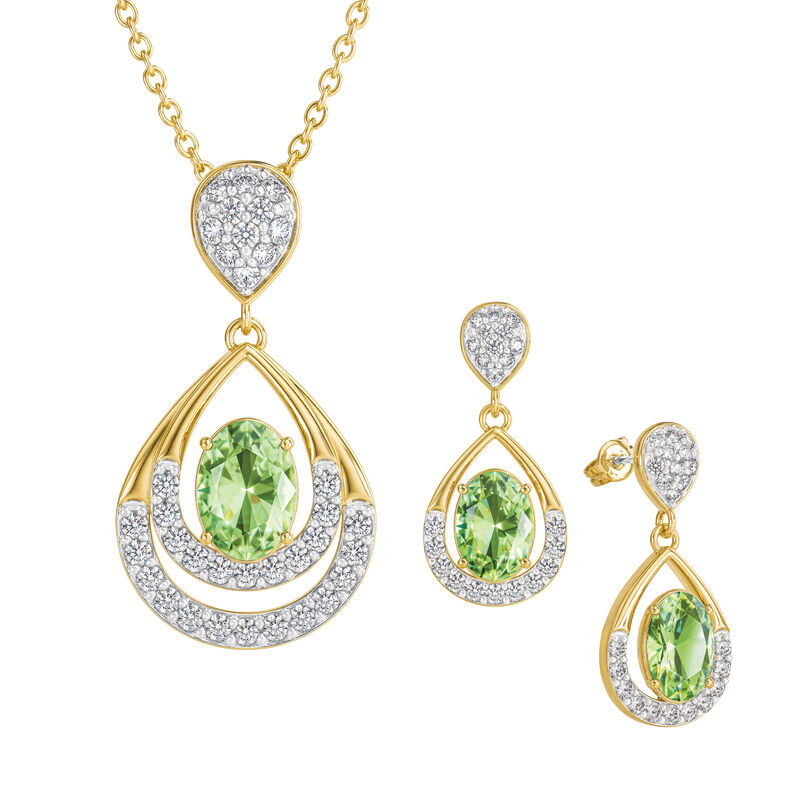 Birthstone Necklace Earring Set UK BSTDS h august