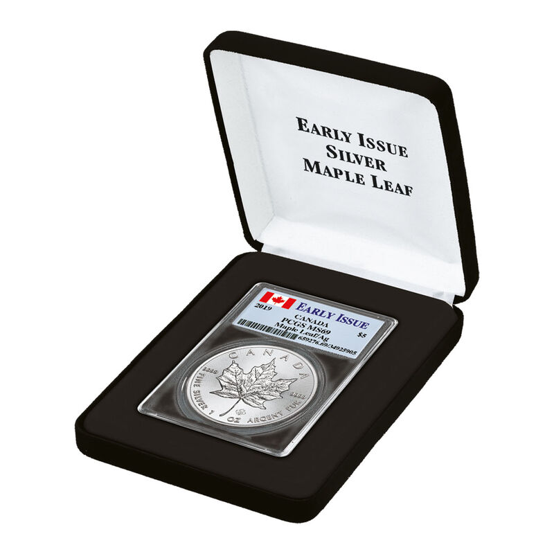 the 2019 early issue silver maple leaf UK C19B c three