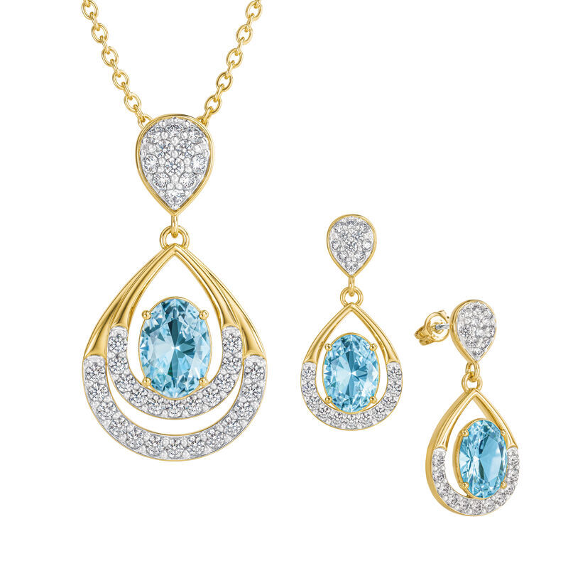 Birthstone Necklace Earring Set UK BSTDS c march