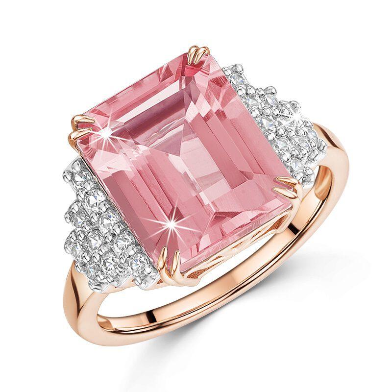 pink amethyst white topaz octagon cut ri UK PAOCR a main