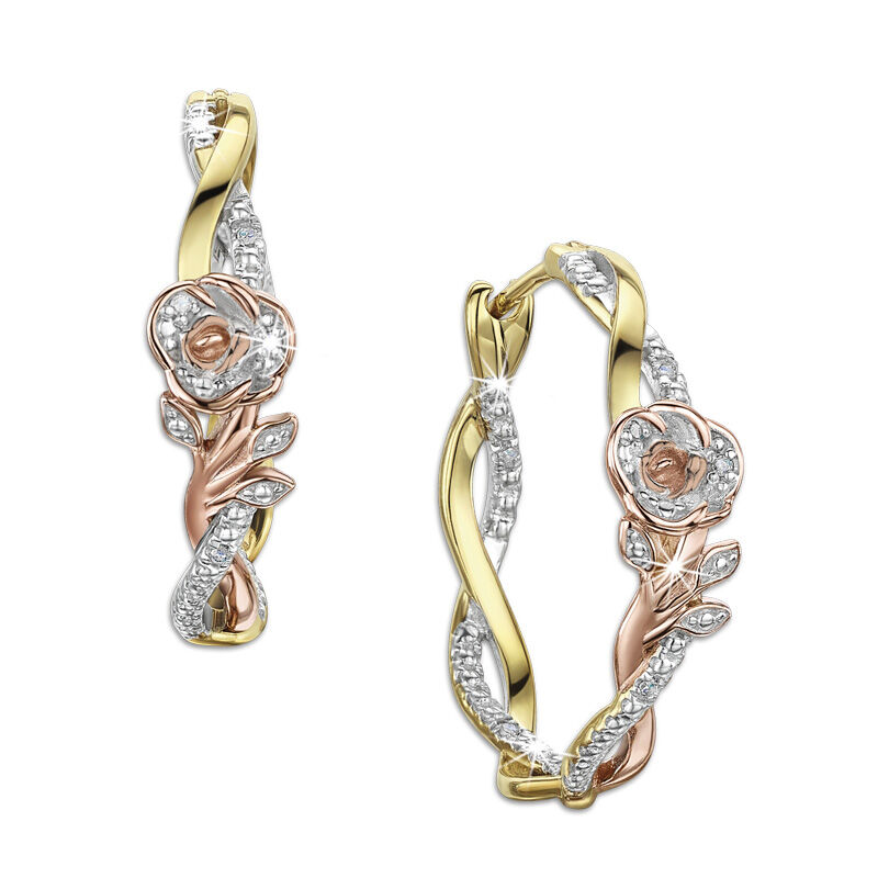 romantic roses silver hoop earrings UK RRSHE2 a main