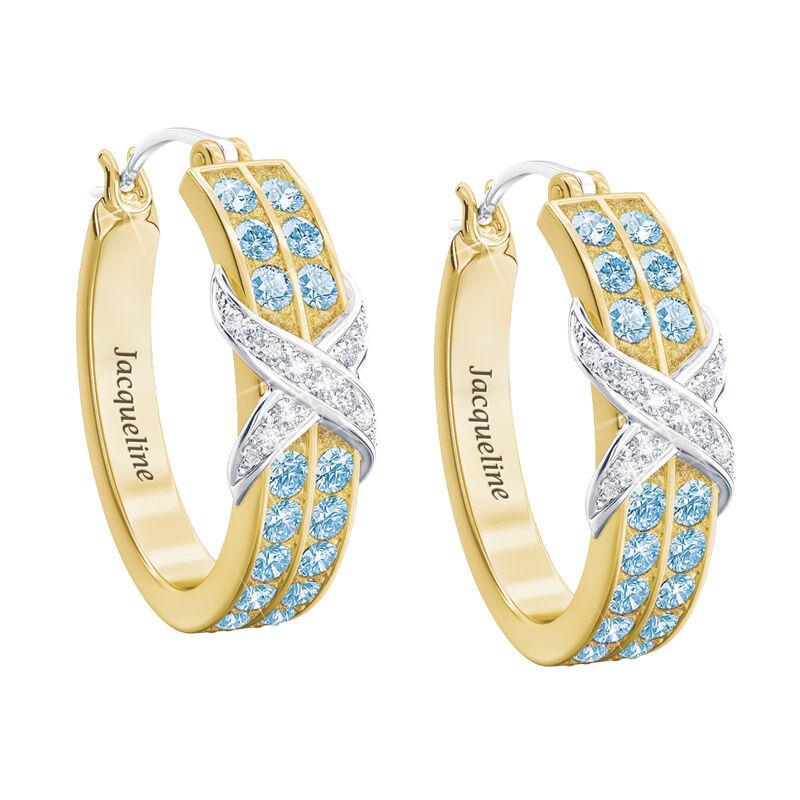 birthstone diamond kiss personalised ear UK BDKPE c three