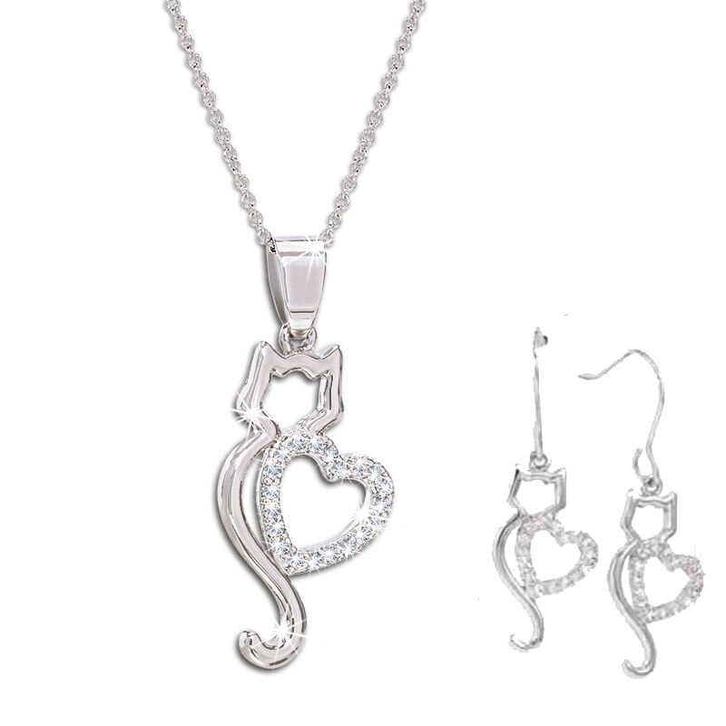 kitty love pendant and earring set UK KLPES a main