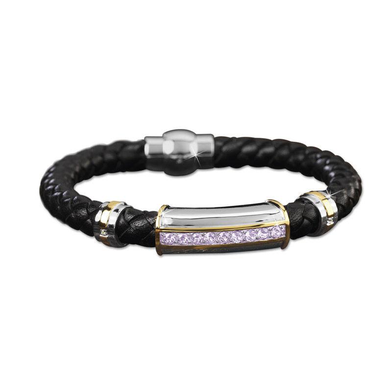 mens birthstone leather bracelet UK MBLBR2 f six