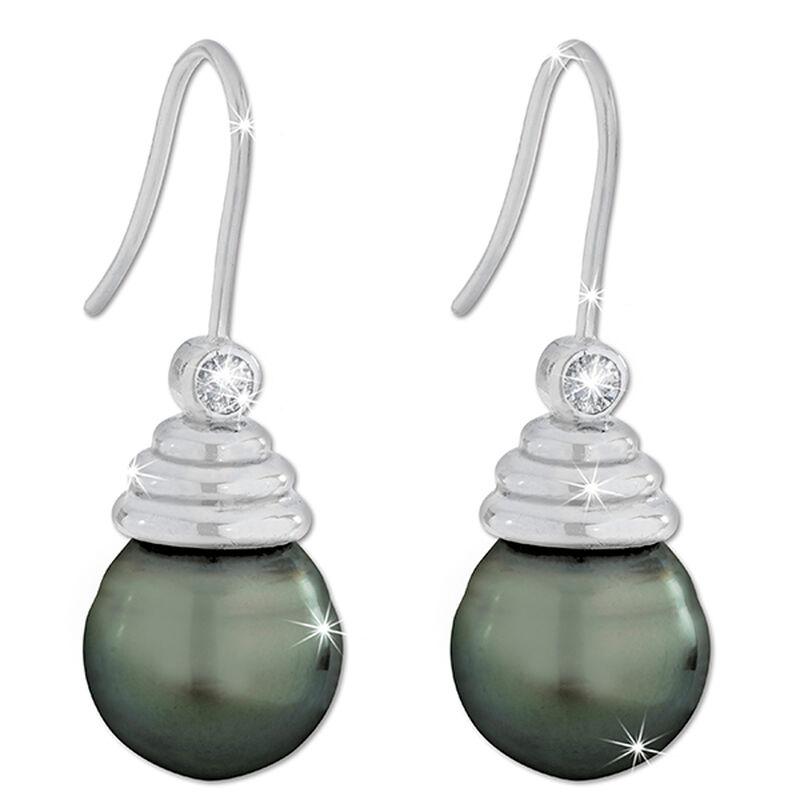 tahitian black pearl drop earrings UK TBPDE a main