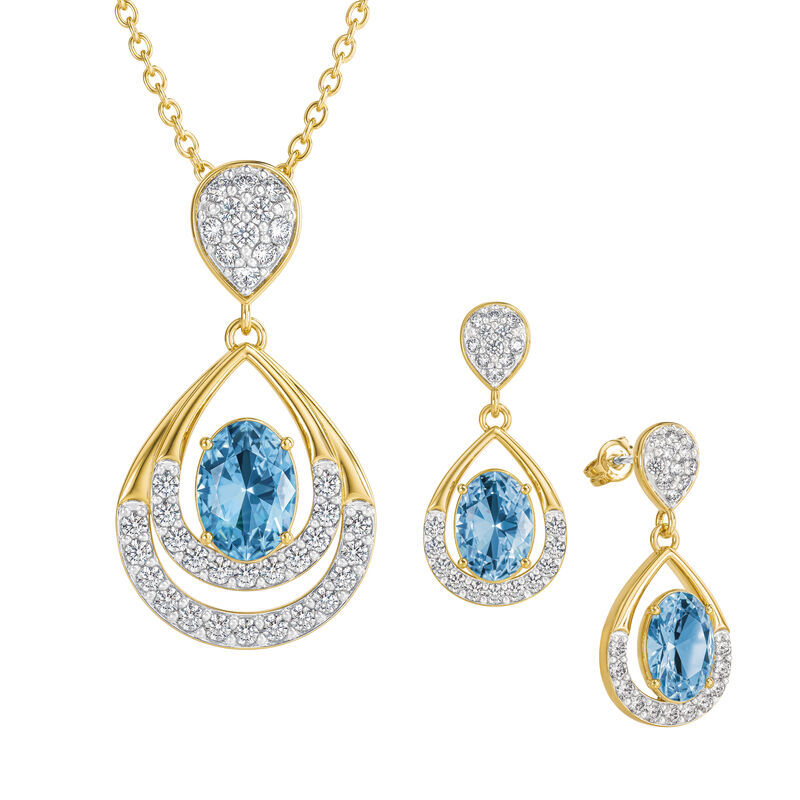 Birthstone Necklace Earring Set UK BSTDS l december
