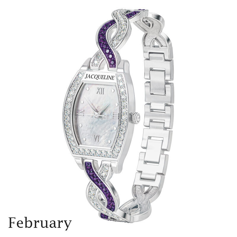birthstone swirl bracelet watch UK BSWB b february
