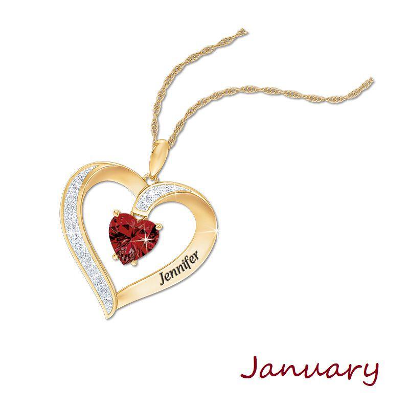 personalised birthstone heart pendant UK PBHP a main