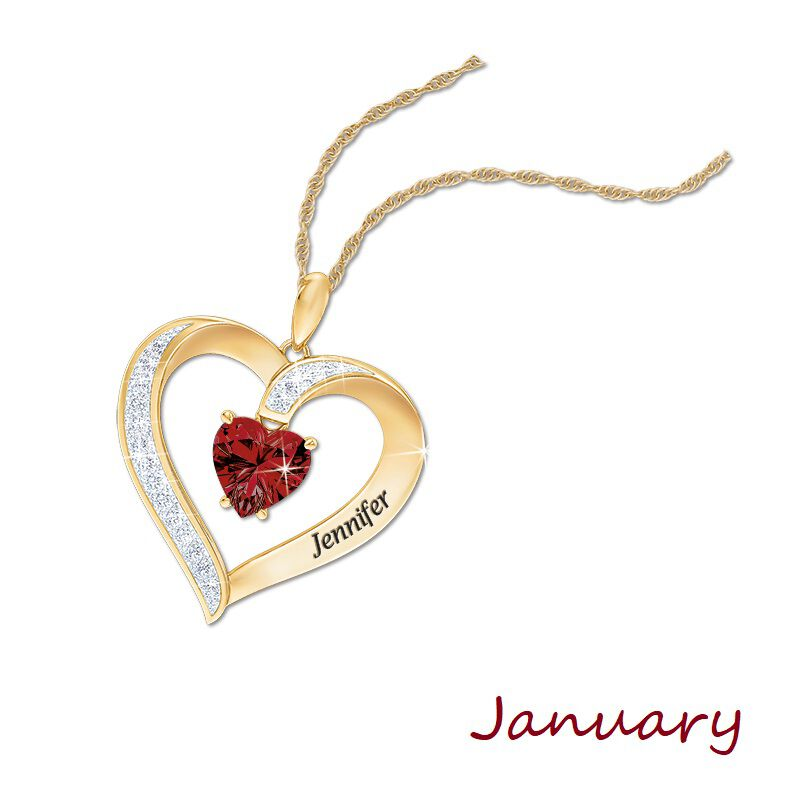 personalised birthstone heart pendant UK PBHP b two