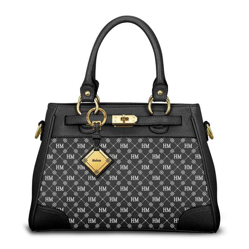 personalised initials black handbag UK IPBB a main