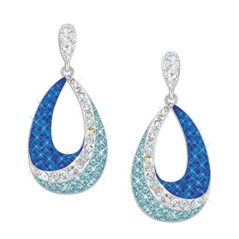 blue wave crystal drop earrings UK BWCE3 a main