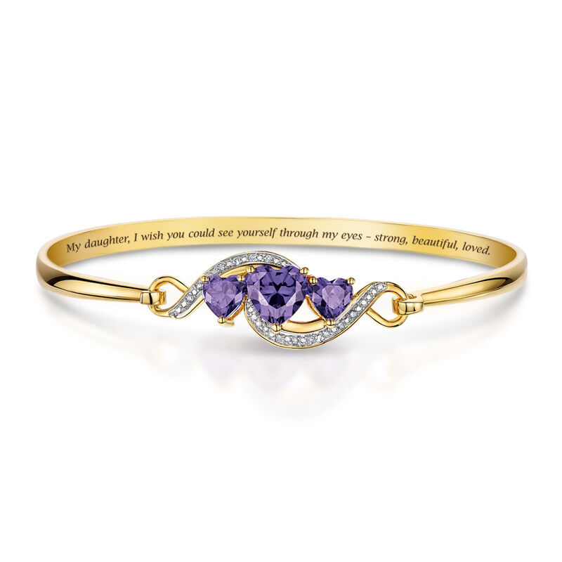daughter purple hearts bangle UK DPHB a main