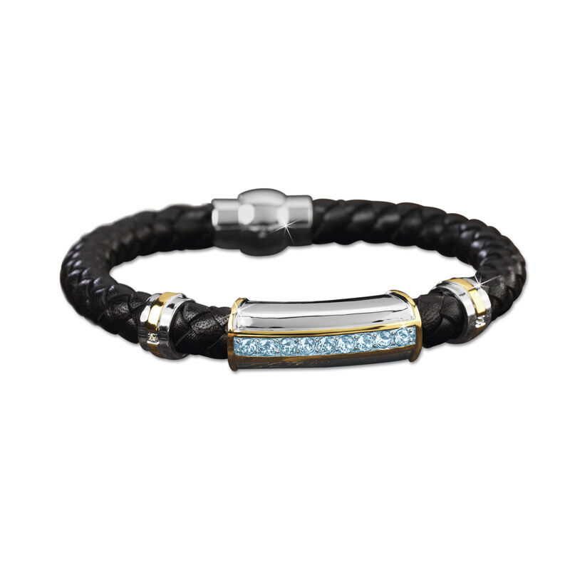 mens birthstone leather bracelet UK MBLBR2 c three