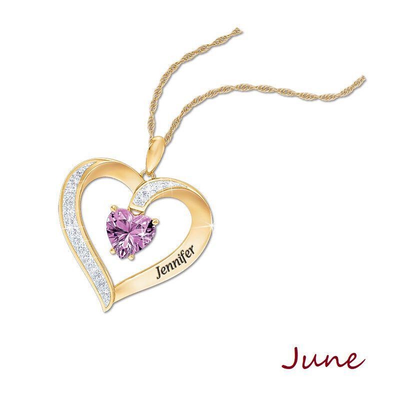 personalised birthstone heart pendant UK PBHP g seven