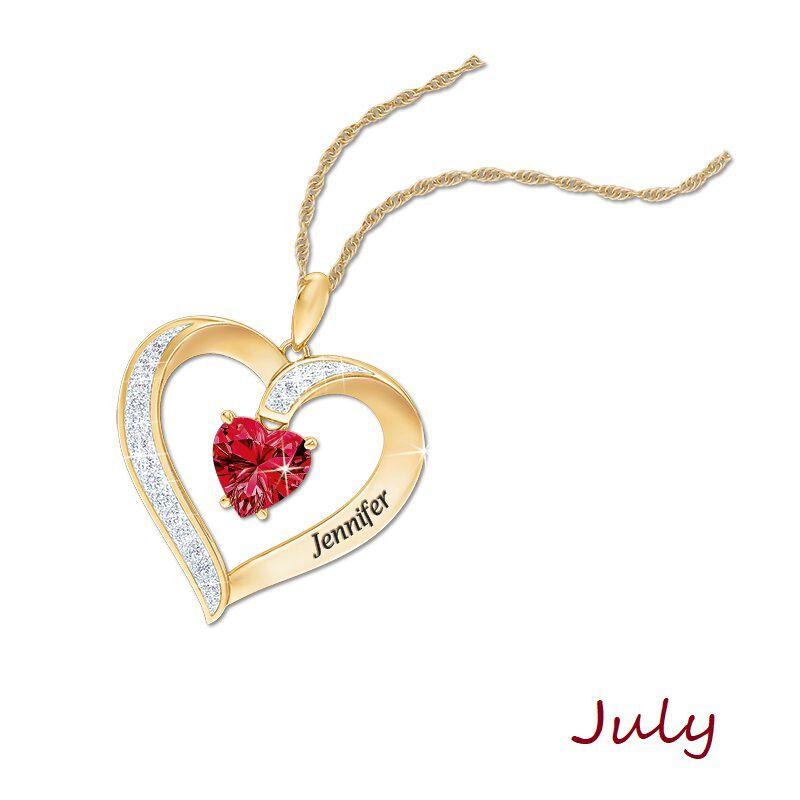 personalised birthstone heart pendant UK PBHP h eight
